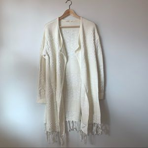 Gap Cream Bobble and Fringe Cardigan